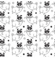 funny pugs seamless pattern background vector image