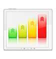 Graph on the screen of Tablet PC vector image