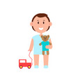 happy child playing with toys colorful banner vector image