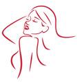 Beautiful Sexy Woman Line Art vector image