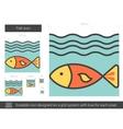 Fish line icon vector image