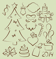 Christmas set elements vector image