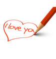Red Heart - I Love You Card vector image vector image