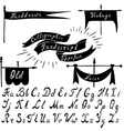 Set of calligraphic handdrawn font and vintage vector image vector image