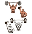 Bodybuilder lifting weights vector image