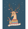 christmas deer night vector image