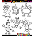 fantasy set cartoon coloring book vector image