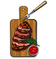 grilled beef steaks vector image