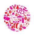 red and pink simple wedding icons in circle eps10 vector image