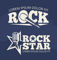 rock star music labels on grunge backdrop vector image