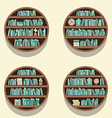 Set Of 4 Round Bookshelves On Wall vector image