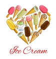 Ice cream seamless sketch pattern background vector image