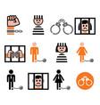 prisoner crime slavery icons set vector image