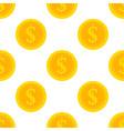golden dollar coins seamless pattern vector image