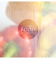 food background of red and yellow peppers with old vector image