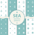 seamless patterns aqua background Set wallpaper vector image
