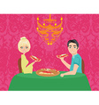Couple enjoying pizza vector image