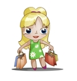 chibi girl with purchases vector image