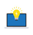 creative idea with light bulb and computer vector image