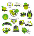 fitness and gym hand drawn logos vector image