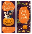 Halloween party flyers set with kids in costumes vector image