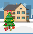 house and decorated cute fir tree vector image