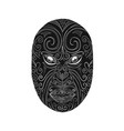 maori mask scratchboard vector image