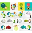 Set of clouds users and assistants concept vector image