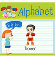 Flashcard alphabet B is for boxer vector image