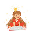 lovely little girl in a crown and a red dress vector image