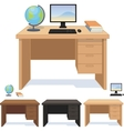 Wood desk for pupil and student set of vector image