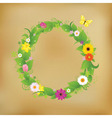 flower wreath on old paper vector image