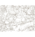 Jungle forest animals cartoon coloring book vector image