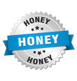 honey 3d silver badge with blue ribbon vector image