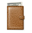 brown leather wallet with dollars on white vector image