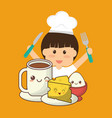 chef boy fork knife breakfast cheese egg vector image