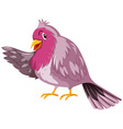 Cute bird with pink feather vector image