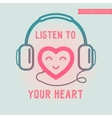 Cute heart listening yourself vector image