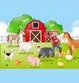 farmer and farm animals in the farmyard vector image