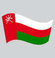flag of oman waving on gray background vector image