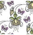 Seamless Floral Pattern with Butterflies vector image