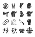 Sexual abuse harassment violence icons vector image
