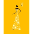 Fashion girl silhouette in wedding dress for your vector image vector image