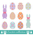 set of easter eggs and bunnies with spring vector image vector image