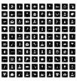 100 wedding icons set grunge style vector image