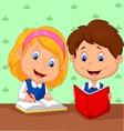 Cartoon Boy and girl study together vector image