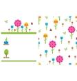 Garden flower party card template vector image vector image