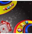 Bingo balls over multi coloured swirl and cards vector image