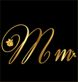 Gold letter m with roses vector image