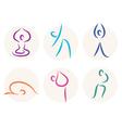 Yoga stick figure icons or symbols vector image